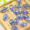 Beads, Selenial Crystal, Crystal, Royal blue AB, Faceted Teardrops, 8mm x 12mm, 1 Bead, [ZZS0007]